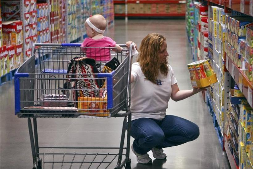 A customer shops in the expanded baby department at a remodelled Sam's Club in Rogers, Arkansas