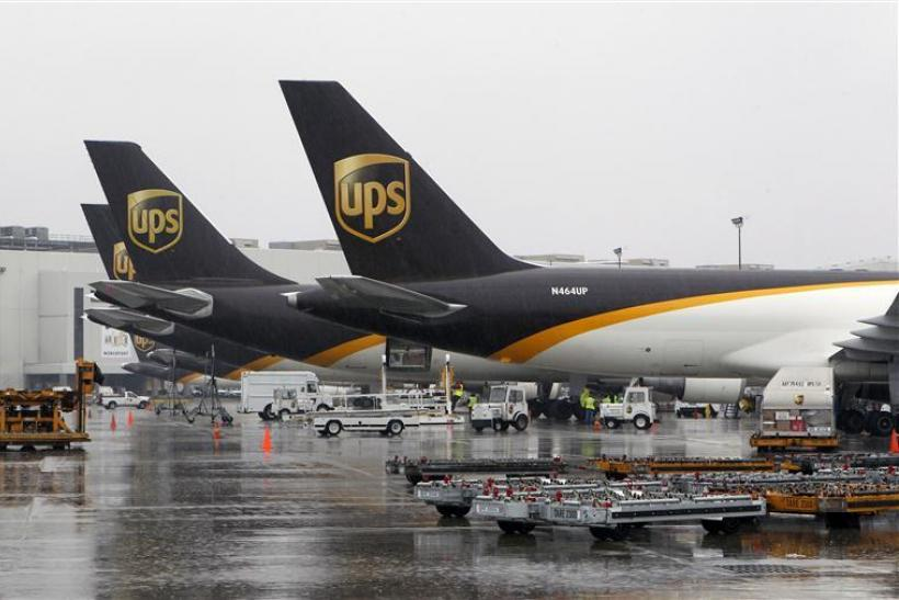 UPS cargo aircraft are loaded with air containers full of packages bound for their final destination at the UPS Worldport All Points International Hub in Louisville