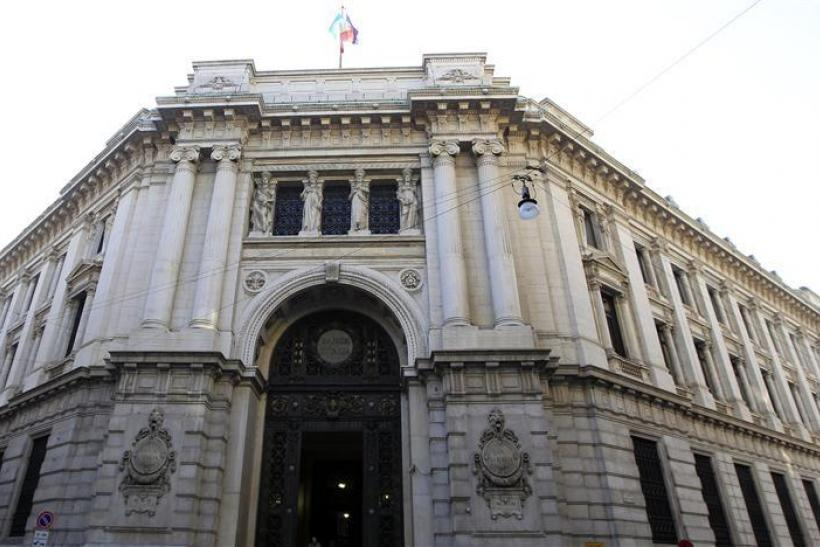The Bank of Italy building is seen downtown Milan