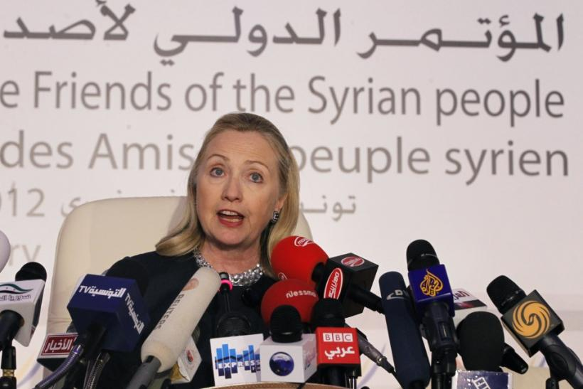 U.S. Secretary of State Hillary Clinton speaks at the Friends of Syria Conference in Tunis