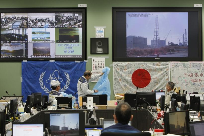 Flags written with supportive messages given by members of the public and foreign countries hang inside the emergency operations center of Tokyo Electric Power Co. (TEPCO)'s tsunami-crippled Fukushima Daiichi nuclear power plant in Fukushima prefectu