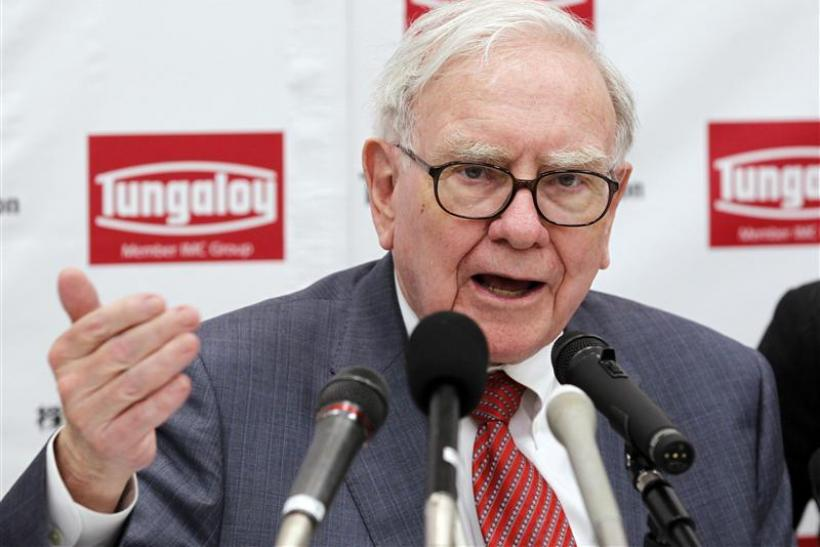 Berkshire Hathaway Chairman Warren Buffett speaks at a news conference after the opening ceremony of Tungaloy Corp's new plant in Iwaki