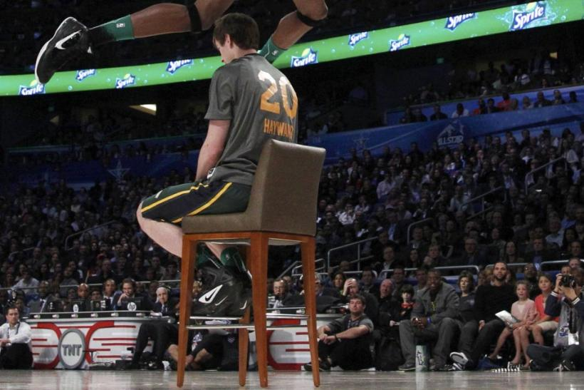 Utah Jazz Evans competes in the slam dunk contest