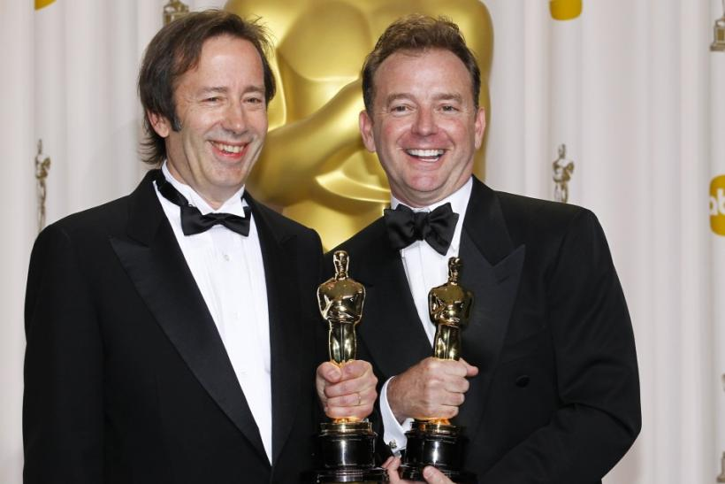 "Stockton and Gearty, winners of Sound Editing award for film ""Hugo"", pose during 84th Academy Awards in Hollywood"