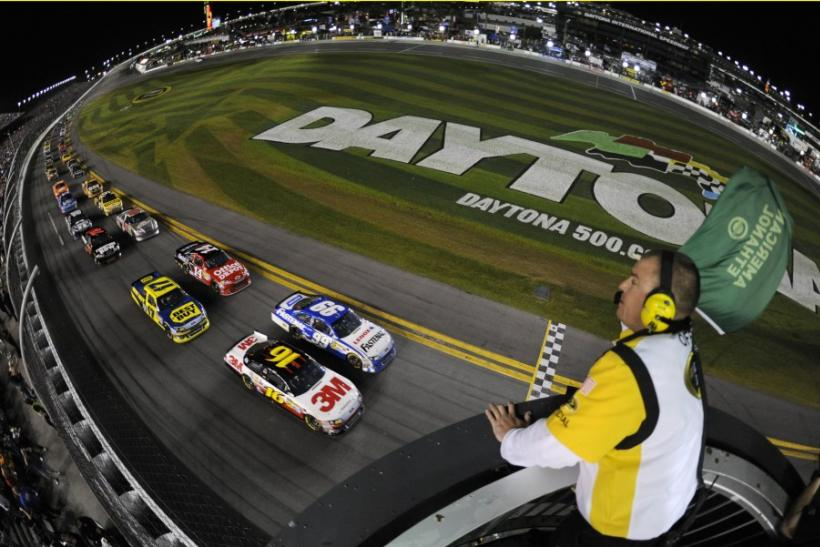 Drivers take the green flag to start the rain delayed NASCAR Sprint Cup Series Daytona 500 race at the Daytona International Speedway in Daytona Beach