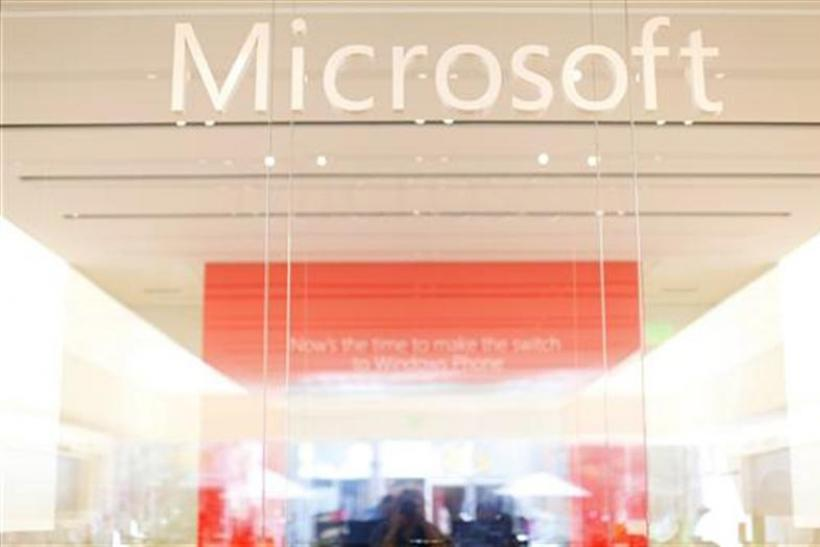 The interior of a Microsoft retail store is seen in San Diego