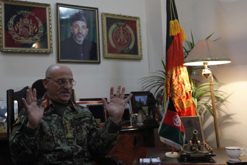 General Sher Mohammad Karimi, chief of staff of the Afghan army, speaks during an interview in Kabul March 3, 2012.