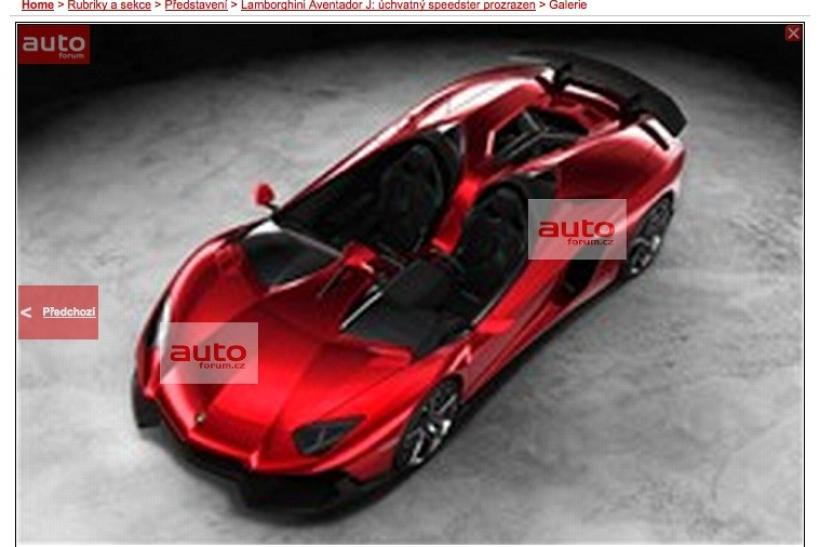 "A screen shot of the rumored Lamborghini ""Unica"" from above on Autoforum.cz."