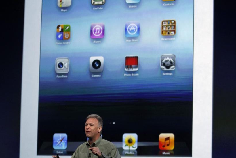 Apple's Schiller senior vice president of Worldwide Marketing speaks about the new iPad during an Apple event in San Francisco