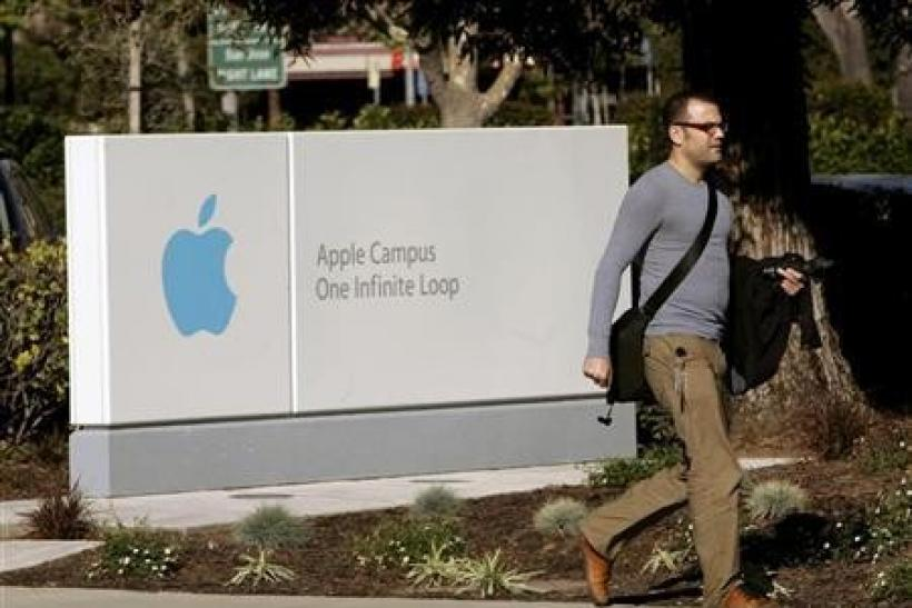 A man walks on the Apple Inc., campus in Cupertino, California February 25, 2009, where the company was holding a shareholders meeting.