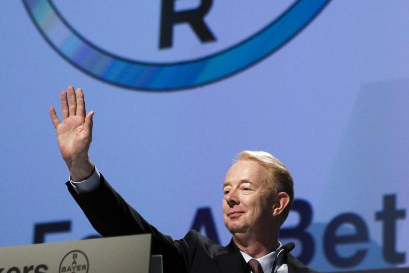 Marijn Dekkers, CEO of Bayer AG waves as he attends the annual general meeting in Cologne April 29, 2011