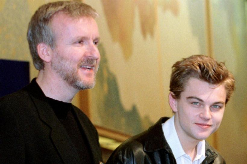 FILM DIRECTOR JAMES CAMERON AND LEONARDO DICAPRIO AT TITANIC NEWS CONFERENCE
