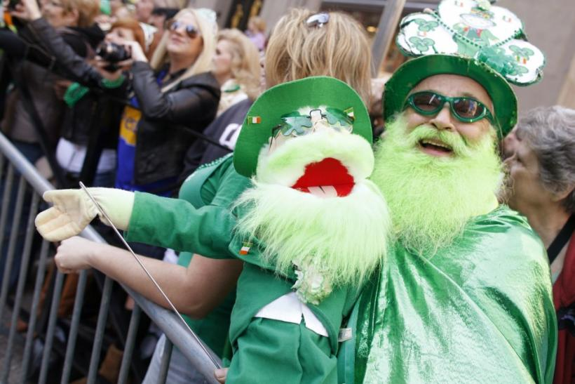 Dennis O'Mann and his puppet attend New York City's 250th annual St. Patrick's Day parade, March 17, 2011.