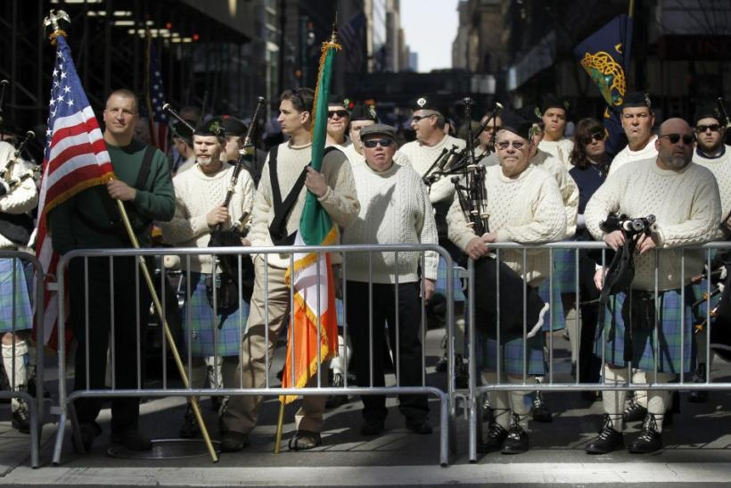 A Pipe and Drum band wait to march in New York City's 250th annual St. Patrick's Day parade, March 17, 2011.