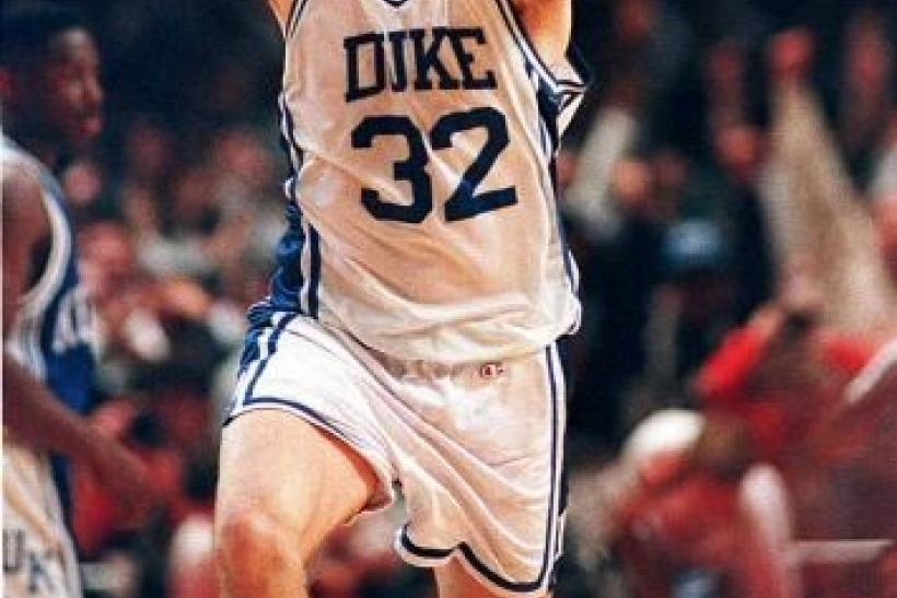 Christian Laettner celebrates after hitting the game winning shot against Kentucky in 1992.
