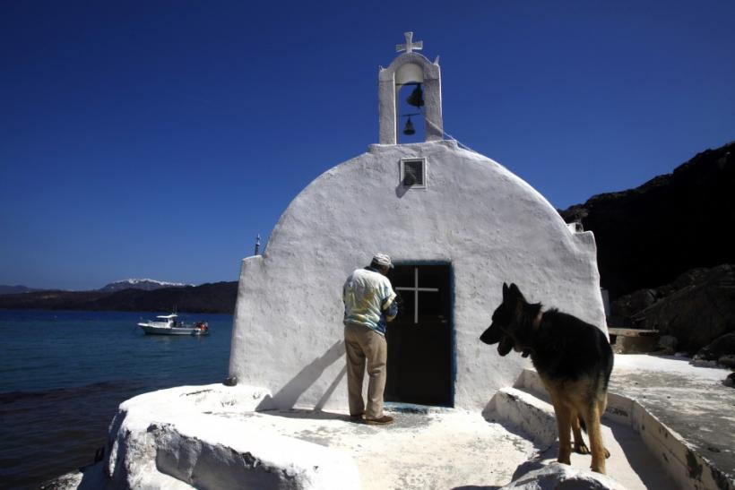 Lone Man Living on Santorini Islet