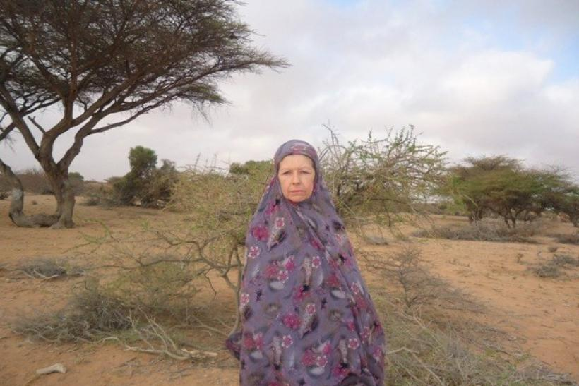 British hostage Judith Tebbutt 56, is seen in the outskirts of Adado town in central Somalia