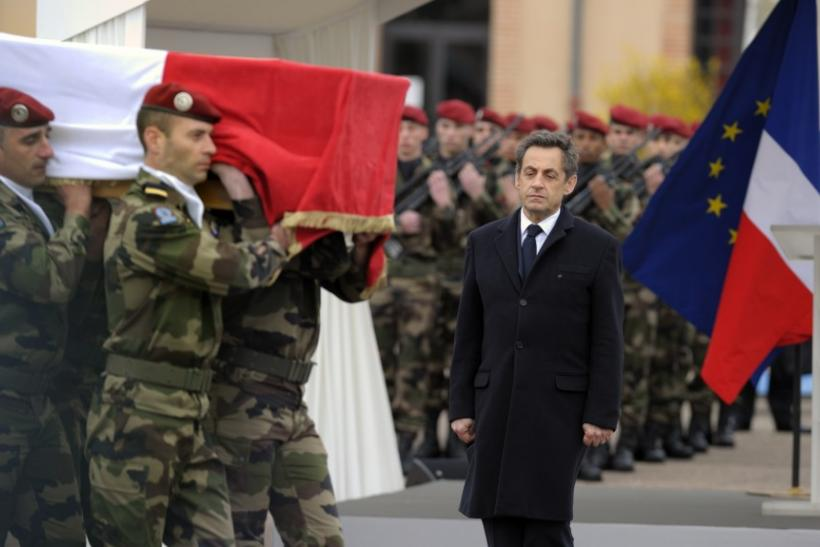 France's President Sarkozy attends a ceremony at the 17th RGP paratroopers regiment in Montauban