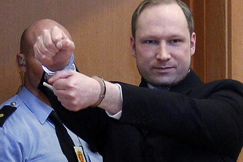 Norwegian Breivik, who killed 77 people, arrives at a court hearing in Oslo.