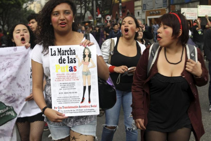"Members of the Network of Women take part in a ""March of the whores"" to protest against discrimination and violence against women in Bogota"