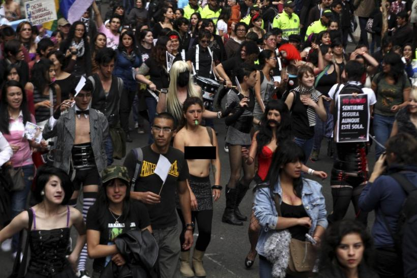 "Members of the Network of Women take part in the ""March of the whores"" held to protest against discrimination and violence against women in Bogota"