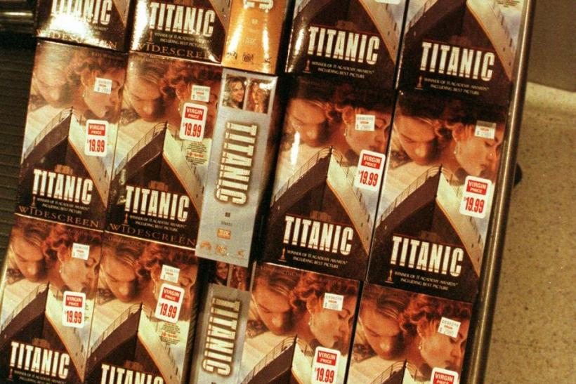 "Copies of the home video of the Academy Award winning film ""Titanic"" are displayed as the video went on sale for the first time shortly after Midnight September 1 at the Virgin Megastore in Los Angeles. About 150 fans lined up to purchase the &q"