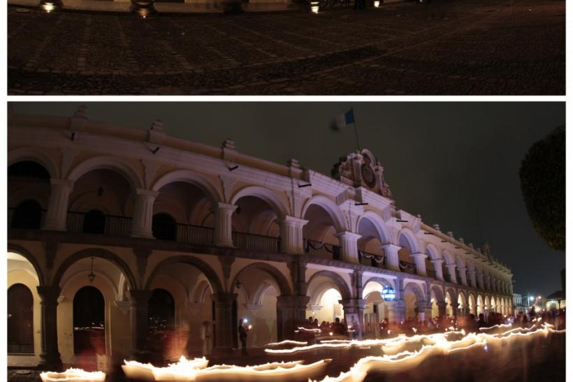 A combination photo shows The Palacio de los Capitanes with the lights turned off (top) and with the lights turned on during Earth Hour in the Central Place of Antigua, about 42 km (26 miles) from Guatemala City, March 31, 2012.
