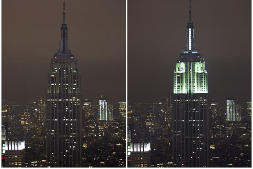 A combination photo shows the Empire State Building with the lights turned off (L), and with the lights switched back on in participation with Earth Hour, in New York, March 31, 2012.
