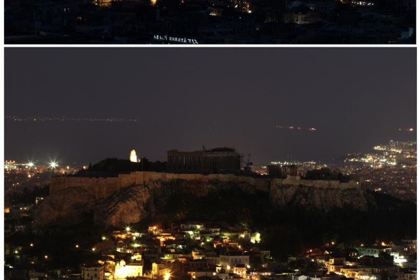 A combination picture shows the hill of the Acropolis before (top) and during Earth Hour in Athens March 31, 2012. E