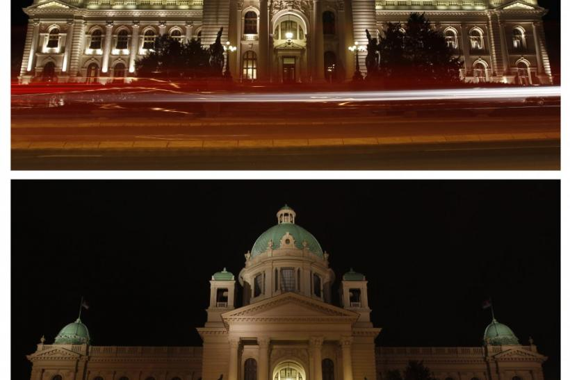 A combination photo shows the Serbian Parliament building, before (top) and during Earth Hour in Belgrade March 31, 2012.