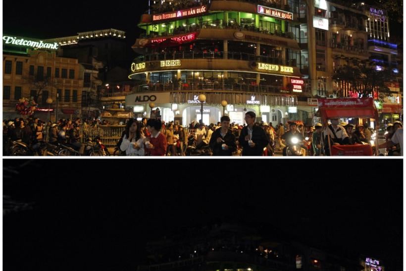 "A combination photo shows the ""Ham Ca Map"" building before (top) and during Earth Hour in Hanoi March 31, 2012."