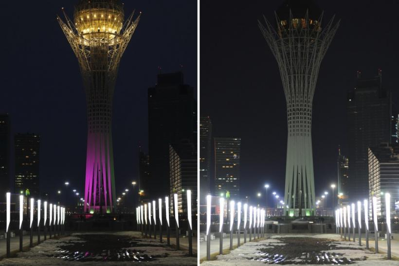 A combination shows the 97-metre monument Baiterek before (L) and during Earth Hour in Kazakhstan's capital Astana, March 31, 2012.