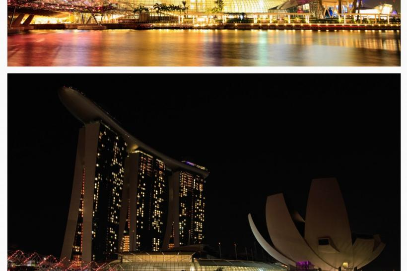 A combination photo of Marina Bay Sands hotel and ArtScience Museum (R), before (top) and during Earth Hour in Singapore March 31, 2012.