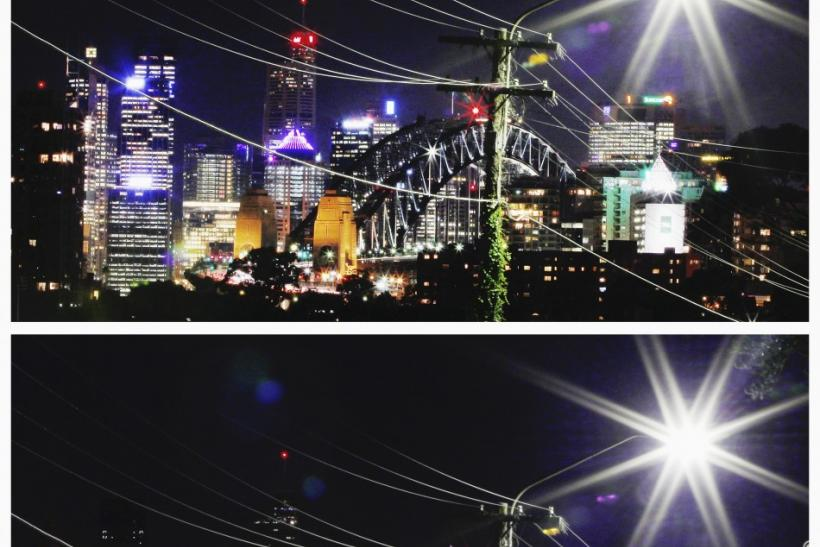 A combination picture shows power lines crossing in front of the Sydney Harbour Bridge and city skyline on March 29, 2012 (top) before Earth Hour, and during Earth Hour March 31, 2012.