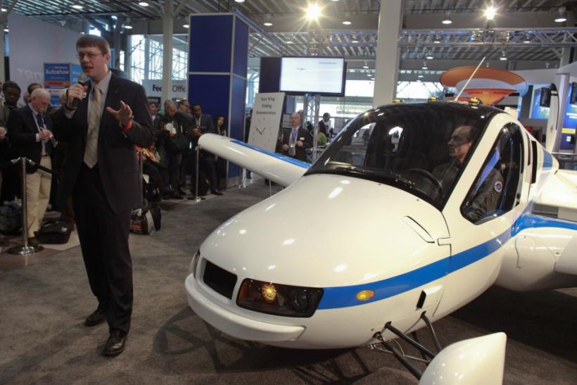 Terrafugia's CEO Dietrich introduces the Terrafugia Transition, a flying car, at the 2012 New York International Auto Show in New York