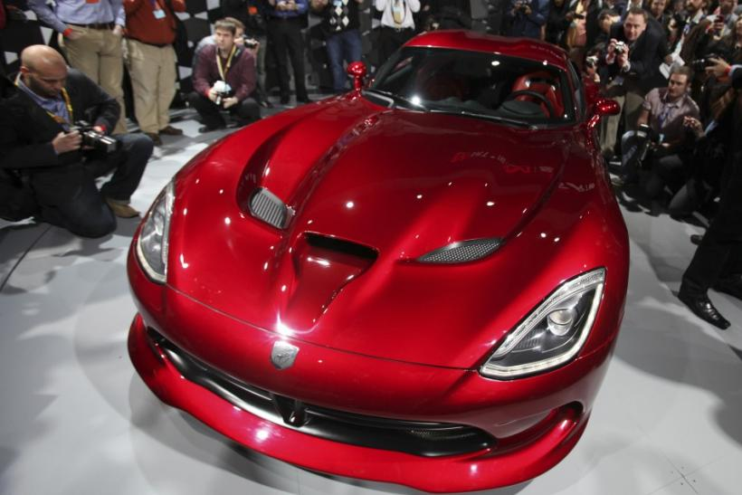 The new SRT 2013 Viper seen from the front at the New York International Auto Show 2012.