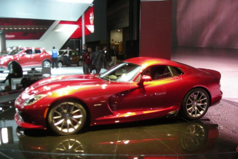 The new SRT 2013 Viper on a pedestal at the New York International Auto Show 2012.