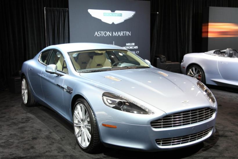 The Aston Martin Rapide seen from the front at the New York International Auto Show 2012.