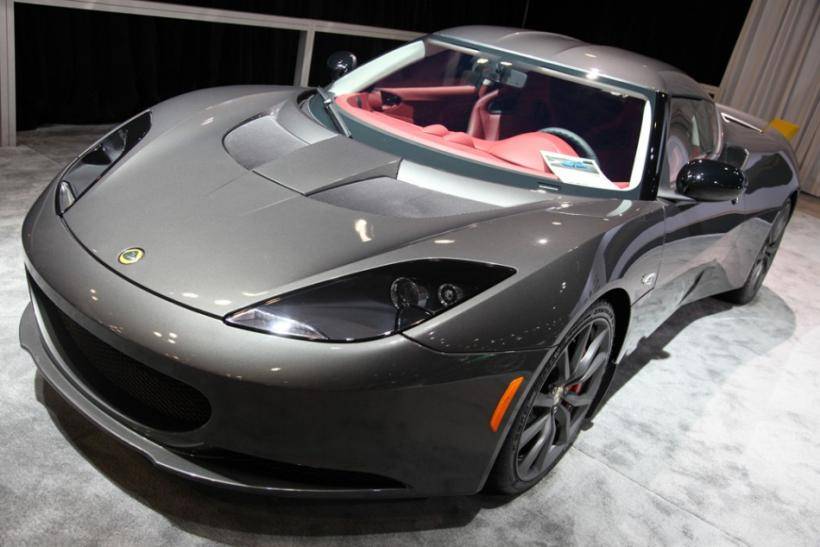 A Lotus Evora from the front at the New York International Auto Show 2012.