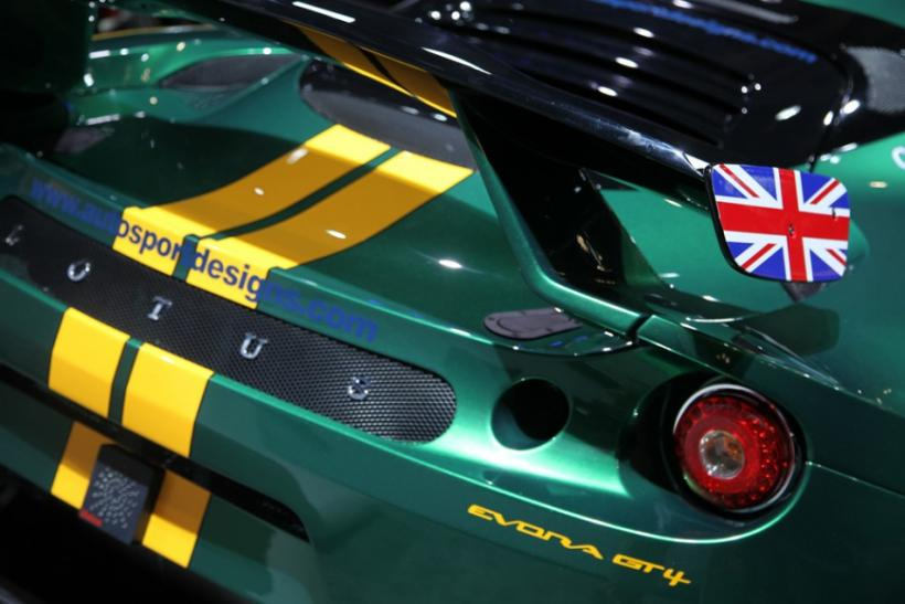 The rear of the Lotus Evora GT racer at the New York International Auto Show 2012.