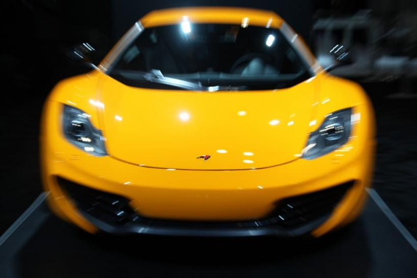 The McLaren MP4-12C seen from the front at the New York International Auto Show 2012.
