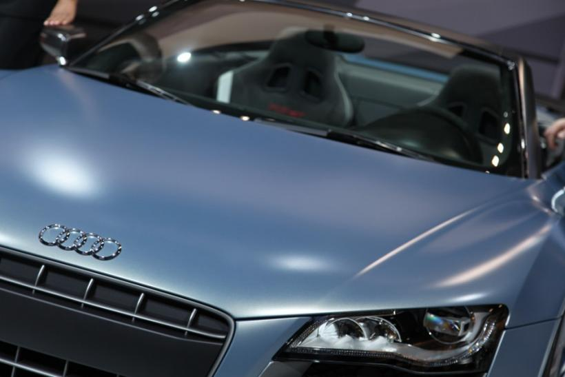 Close up with the Audi R8 Convertible at the New York International Auto Show 2012.