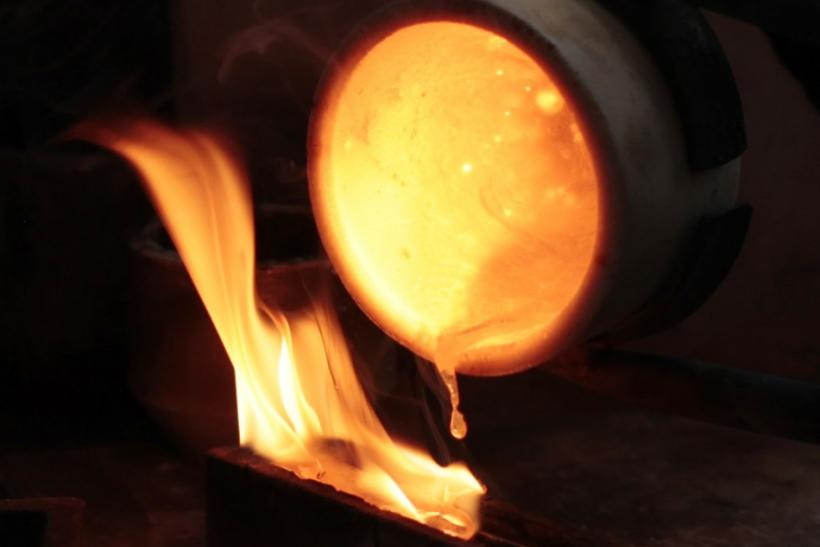Gold being melted