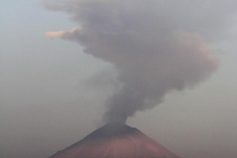 A plume of steam and ash is seen rising from the Popocatepetl volcano in San Nicolas de los Ranchos