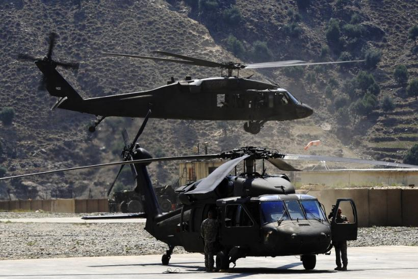 A U.S. Army Black Hawk helicopter takes off from FOB Bostick in eastern Afghanistan's Naray district