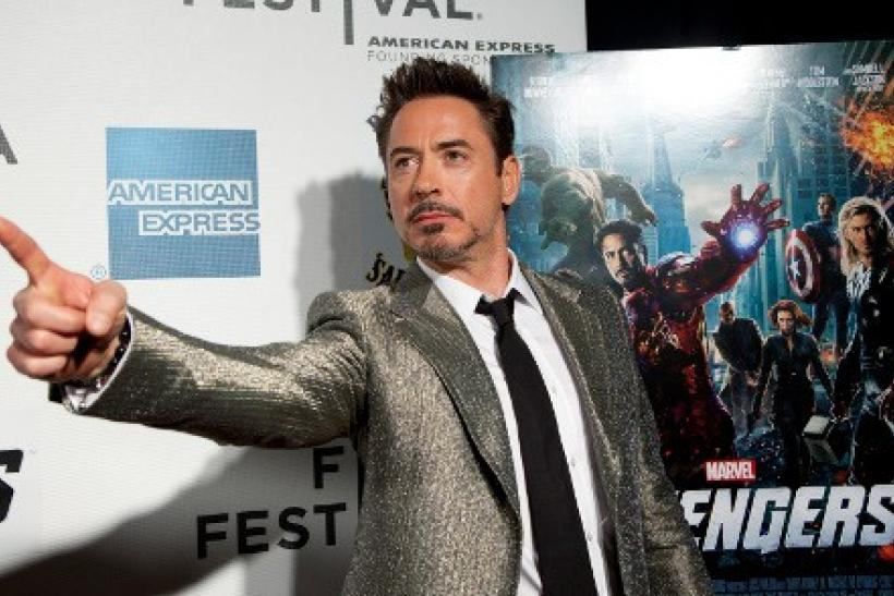 "Robert Downey Jr. arrives at the screening of the film ""Marvel's The Avengers"" for the closing night of the 2012 Tribeca Film Festival in New York"