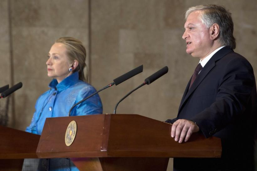 Armenian Foreign Minister Nalbandian and U.S. Secretary of State Clinton address a news conference following at the presidential palace in Yerevan