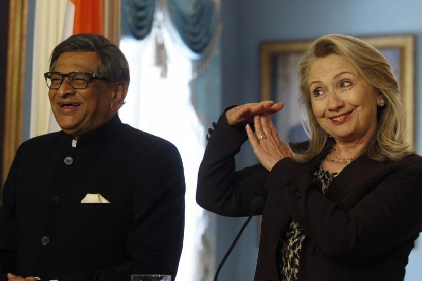 U.S. Secretary of State Clinton and India's Foreign Minister Krishna smiles during their news conference at U.S.-India Strategic Dialogue
