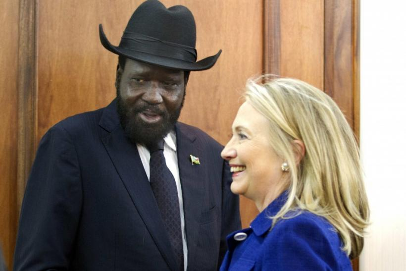 Clinton with South Sudanese president Salva Kiir