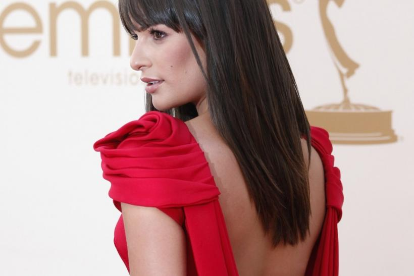 Lea Michelle in a red backless gown